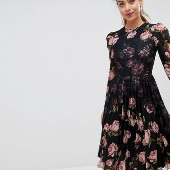 Asos floral black lace sheer sleeves pleated dress